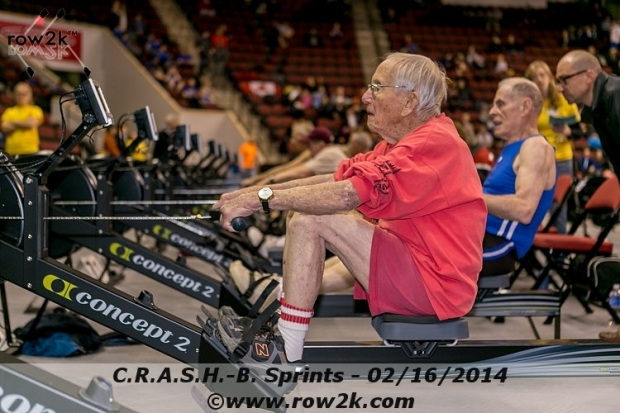 At 96 Paul Randall was a C.R.A.S.H.-B Crowd Pleaser (2014 World Championship Indoor Rowing Qualifier)